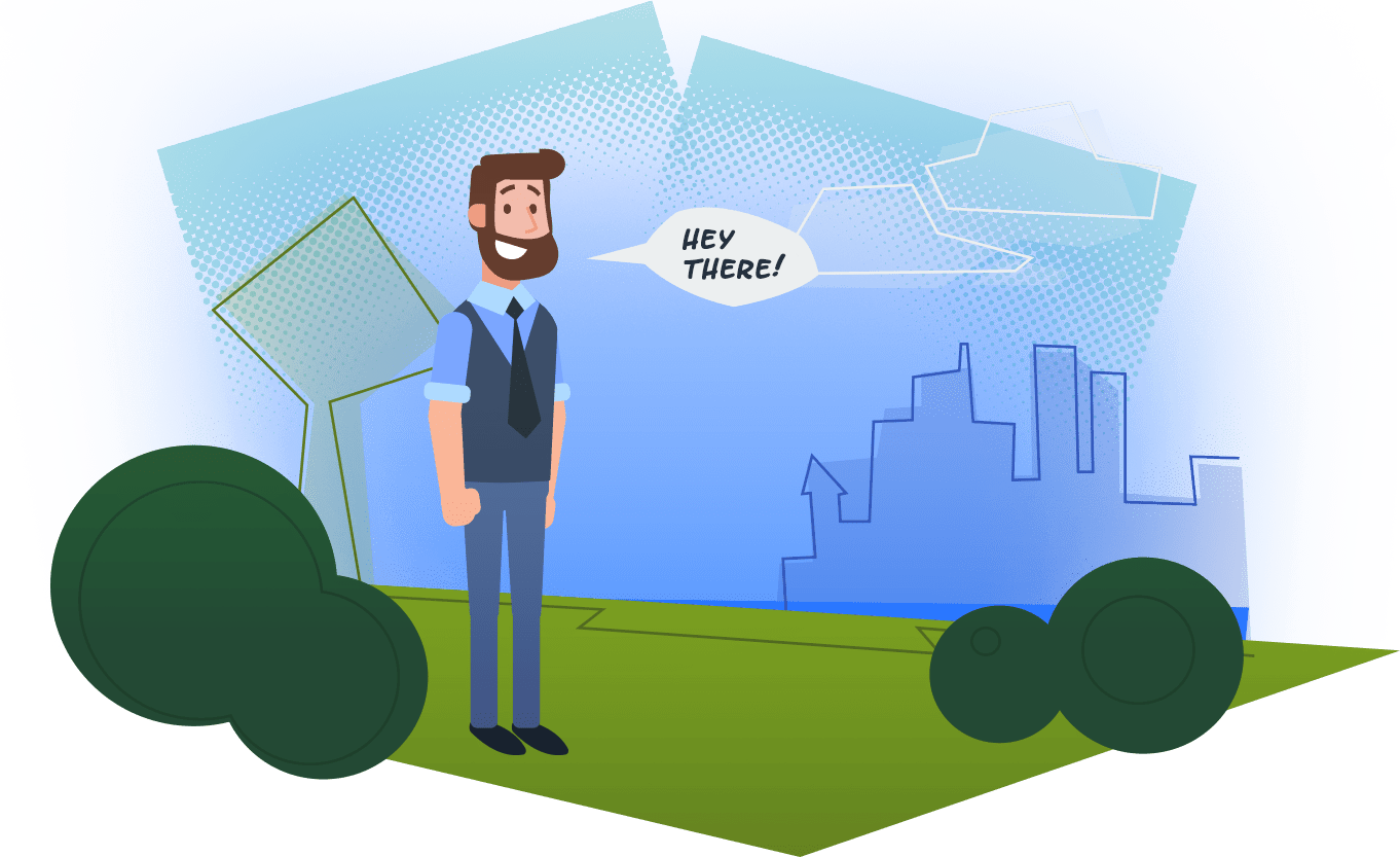 """Illustrated drawing of an IT tech outside saying """"Hey There"""" - SAVIAN - Illustrators in Edmonton"""