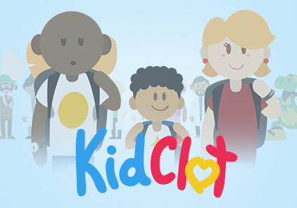 KidClot Logo with illustrated male, kid and female. SAVIAN - Animation Studio in Edmonton